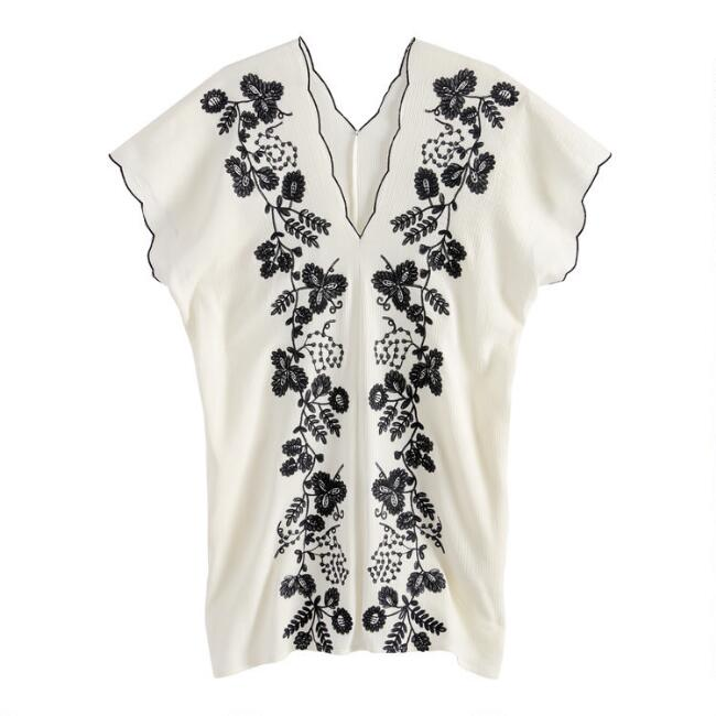 Black And White Floral Embroidered Kaftan