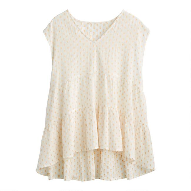 White And Gold Dobby Dot Top