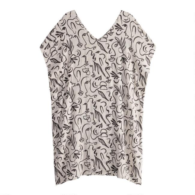 Black And White Abstract Squiggle Face Kaftan