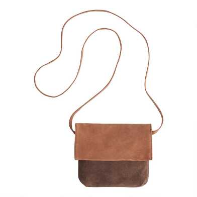 Brown and Tan Suede Fold Over Crossbody Bag
