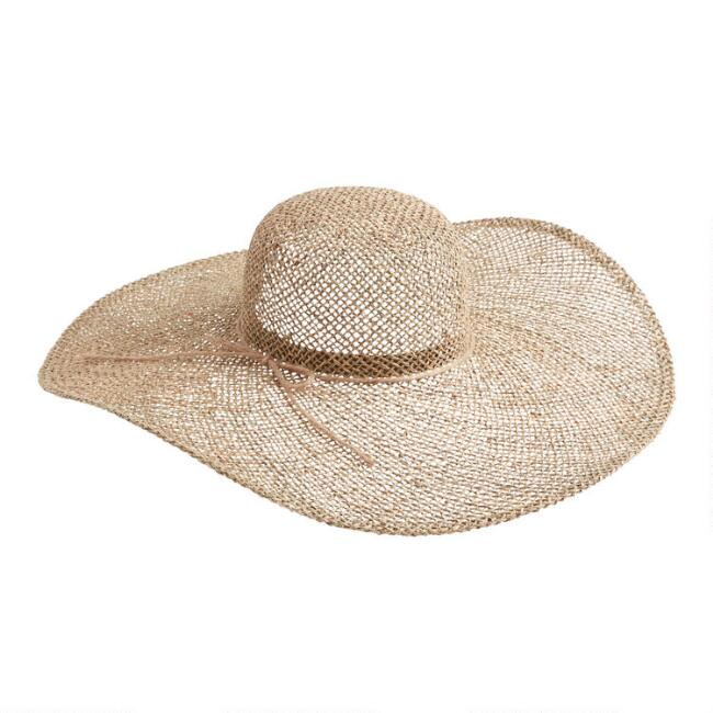 Open Weave Straw Sun Hat with Oversized Brim