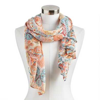 Coral and Blue Surf Damask Scarf