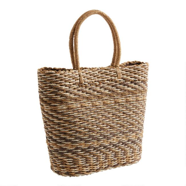 Natural, Tan and Brown Ombre Straw Tote Bag