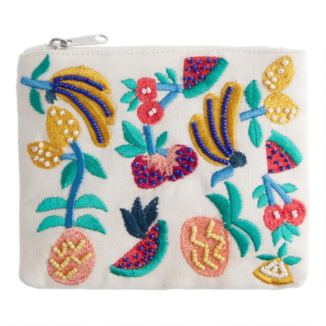 Fruit Toss Embroidered Cotton Beaded Pouch