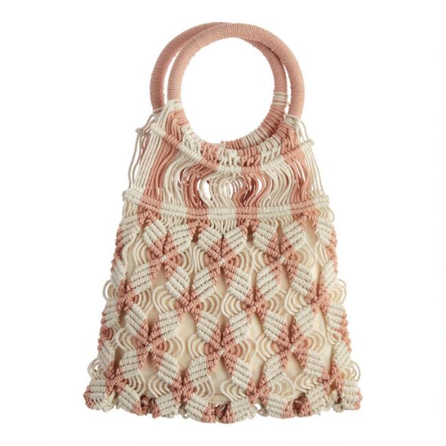 Peach and Ivory Circle Handle Crochet Tote Bag