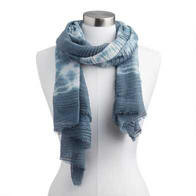 Gray and White Tie Dye Pleated Scarf
