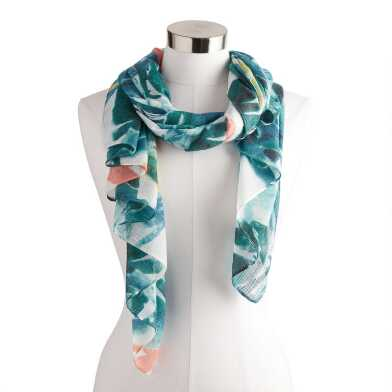Teal and White Bird of Paradise Scarf