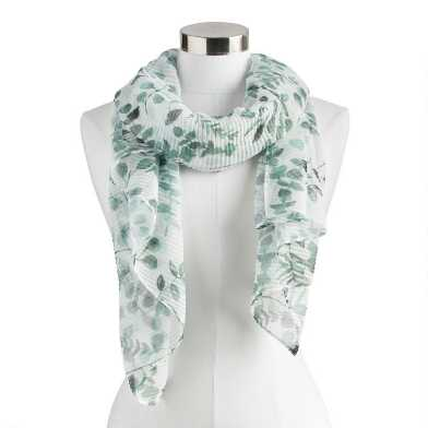 Ivory and Green Eucalyptus Leaf Scarf
