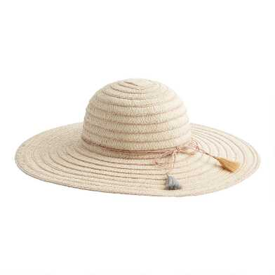 Natural and Rose Gold Straw Sun Hat