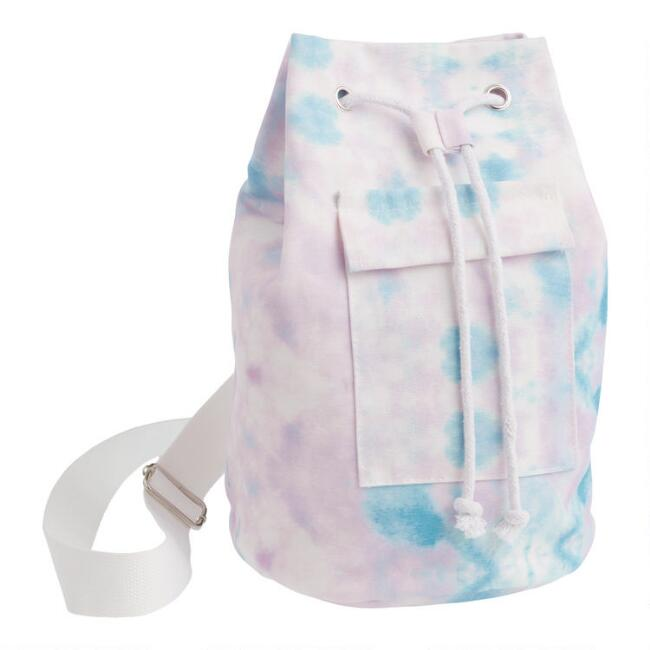 Purple and Blue Tie Dye Canvas Sling Bag