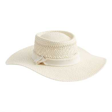 Straw Taos Boater Hat with Oversized Brim