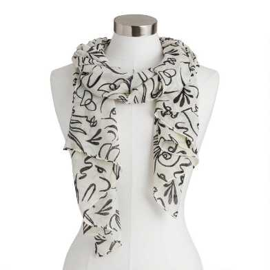 Black and White Face Squiggles Scarf