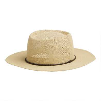 Straw Mesa Boater Hat with Braided Trim
