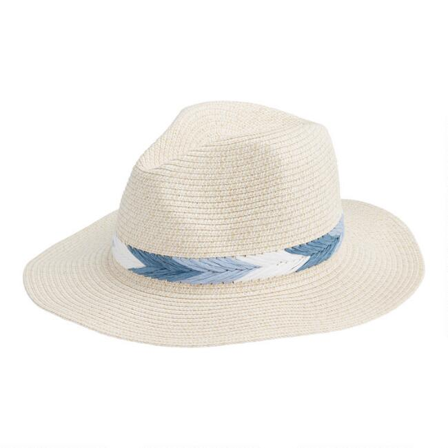 Natural Woven Rancher Hat with Blue Trim