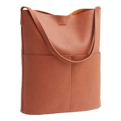 Cognac Minimalist Faux Leather Hobo Tote Bag