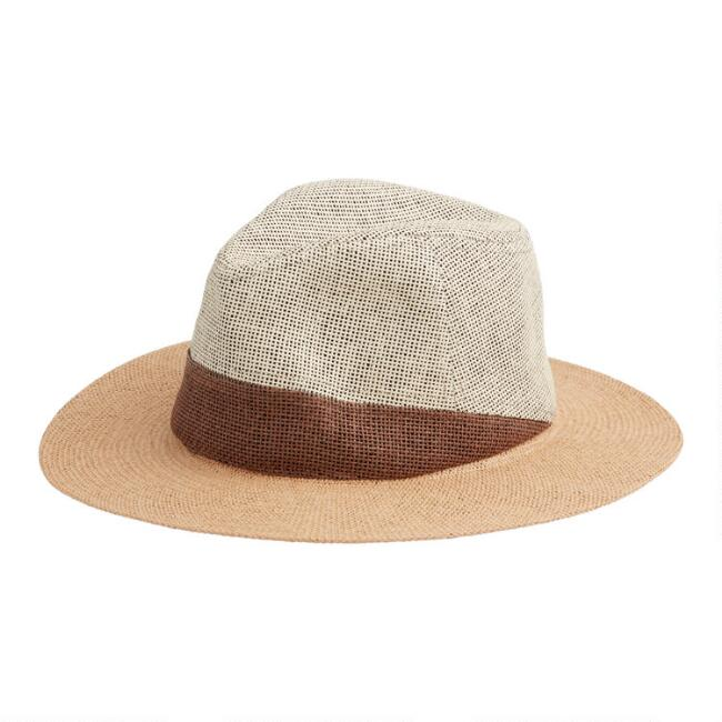 Tan and Brown Color Block Straw Rancher Hat