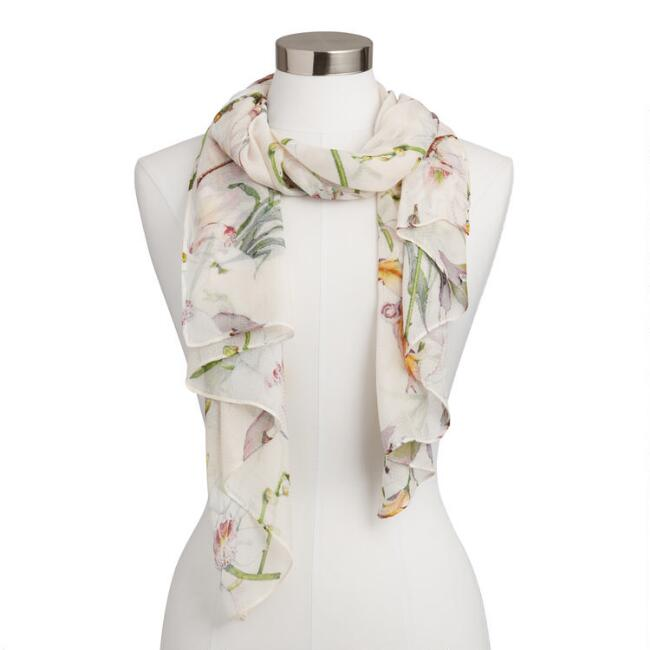 White Watercolor Iris Scarf
