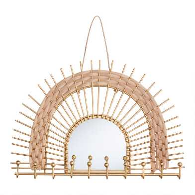 Metal and Rattan Arch Wall Jewelry Holder