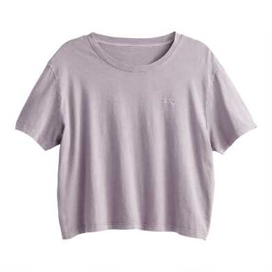 Lavender Stonewash Embroidered Rad Lounge Top