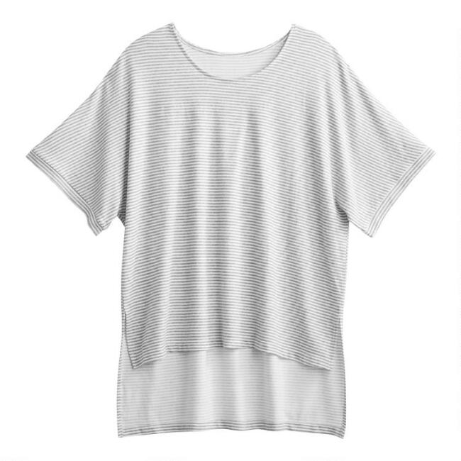 Gray And White Stripe Lounge Top