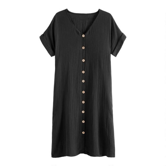 Black Textured Mara Dress With Pockets