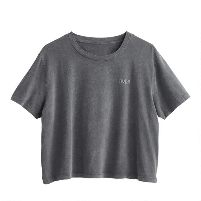Gray Stonewash Embroidered Nope Lounge Top