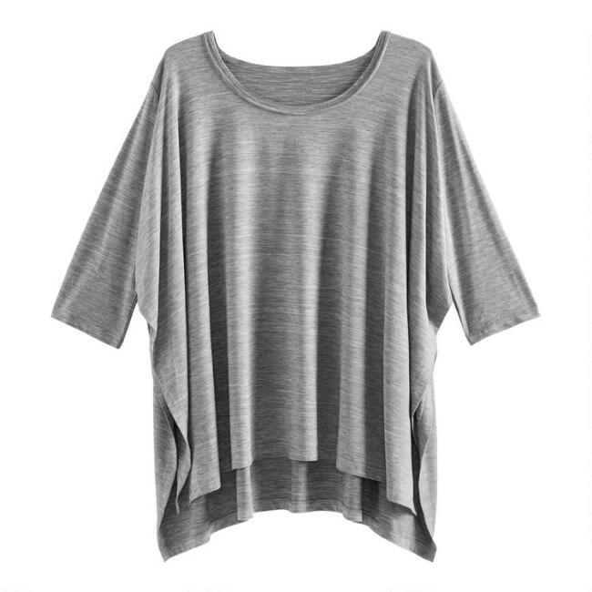 Gray Space Dyed Side Slit Lounge Tunic Top