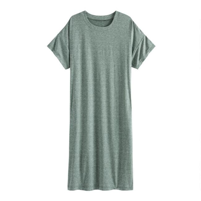 Green Knit Lounge Dress With Pockets