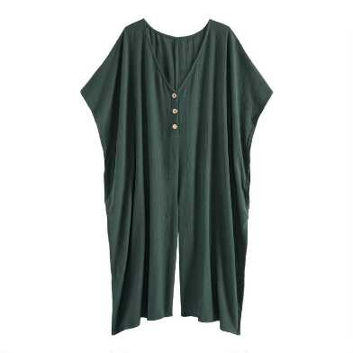 Agave Green Textured Lounge Jumpsuit With Pockets