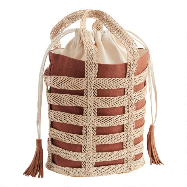 Brown Double Layer Woven Tote Bag