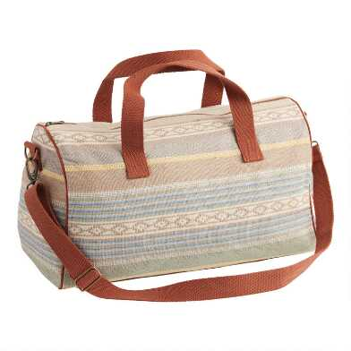 Teal and Tan Geo Jacquard Weekender Bag