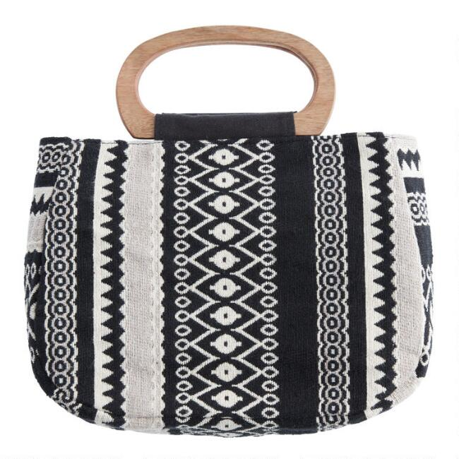 Black and White Jacquard Bag with Wood Handle