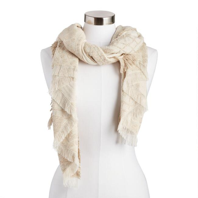 Natural and Tan Textured Diamond Border Scarf