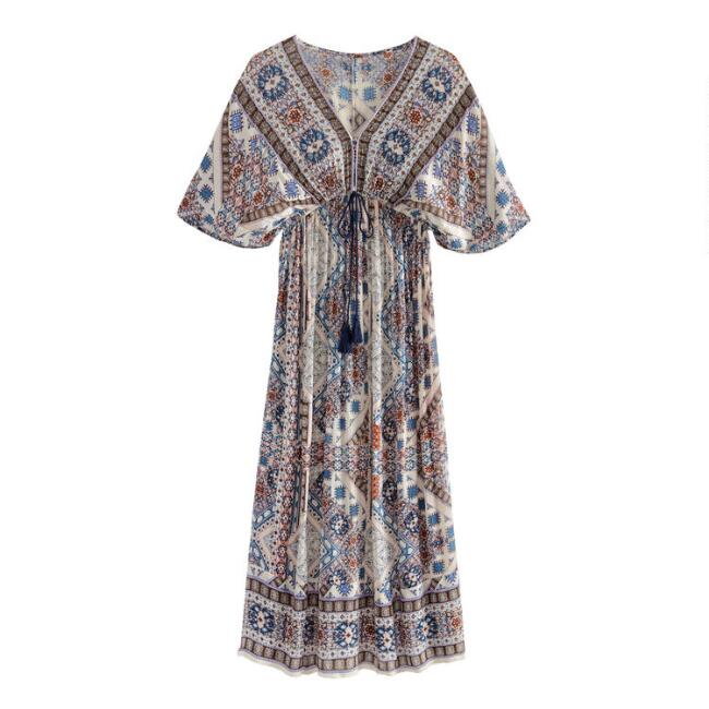 Blue And Purple Mosaic Mira Kaftan Dress