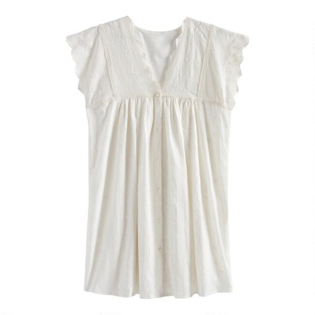 White Floral Embroidered Lorelei Dress