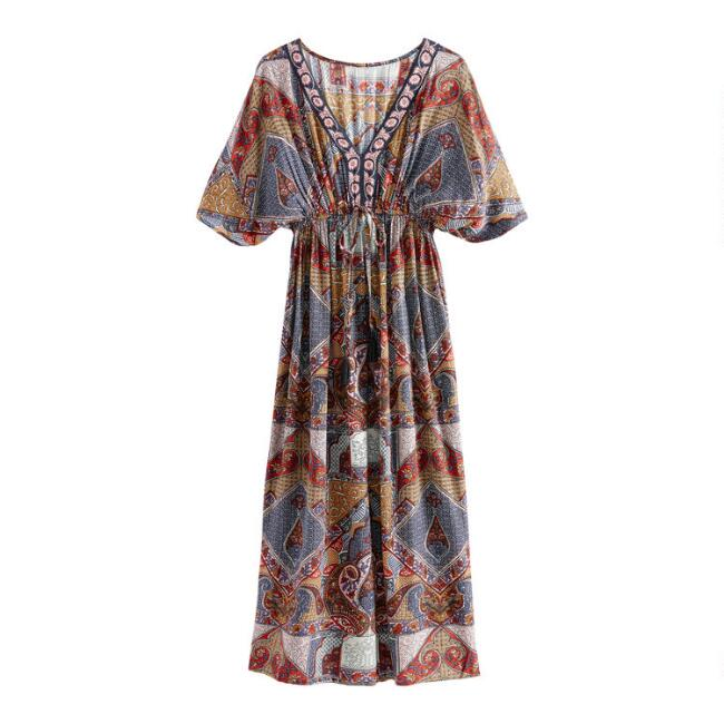 Multicolor Persian Print Mira Kaftan Dress