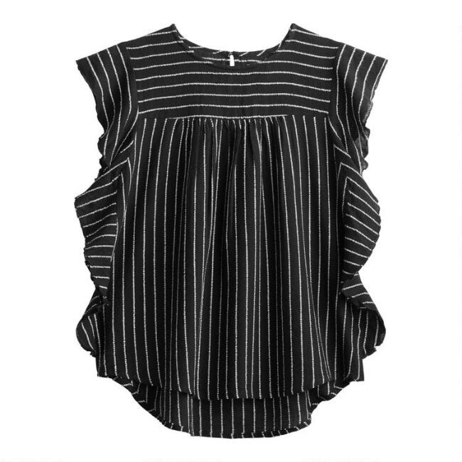 Black And White Textured Stripe Ruffle Top