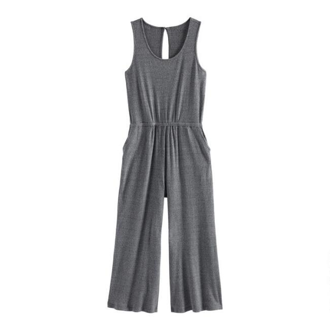 Gray Ribbed Knit Lounge Jumpsuit With Pockets