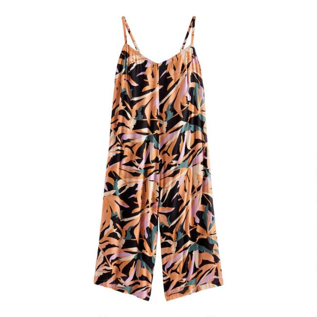 Abstract Palm Jumpsuit With Pockets