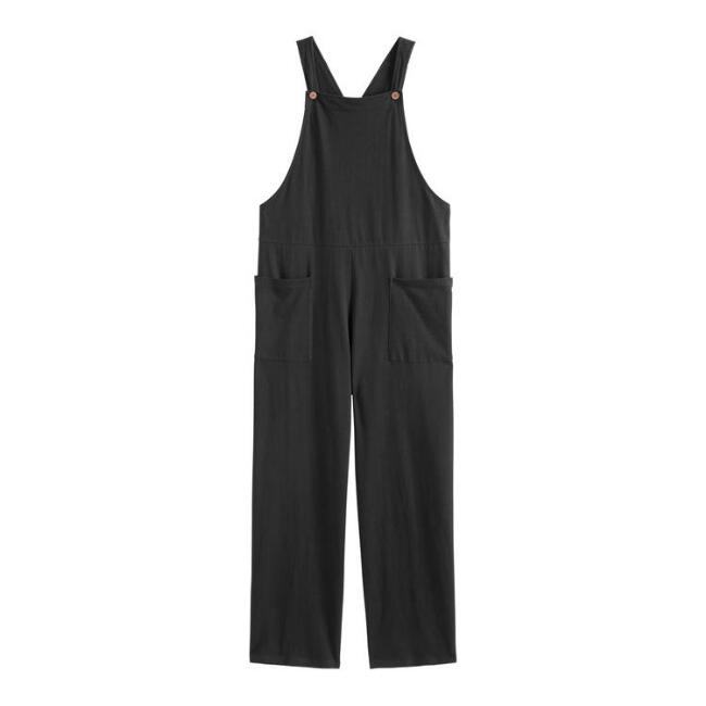 Black Knit Lounge Overalls With Pockets
