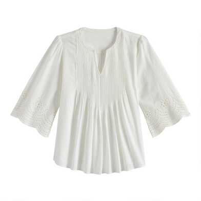 White Pleated Eyelet Lace Lily Top