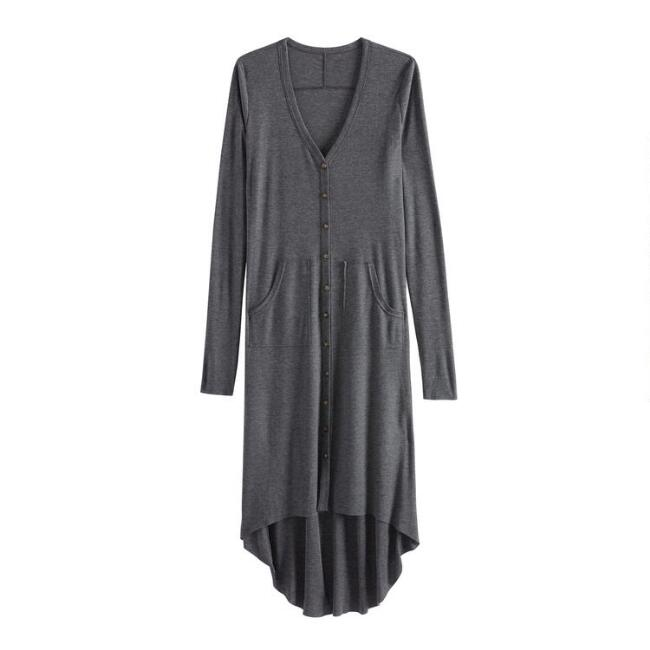Gray Ribbed Knit Lounge Dress With Pockets