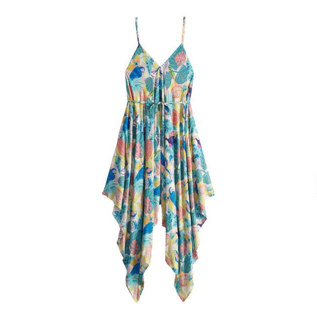 Multicolor Tropical Foliage Jumpsuit With Pockets