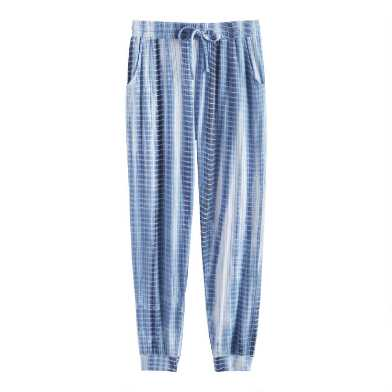 Indigo And White Tie Dye Lounge Joggers With Pockets