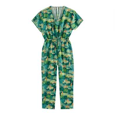 Green Tropical Tiger Jumpsuit With Pockets