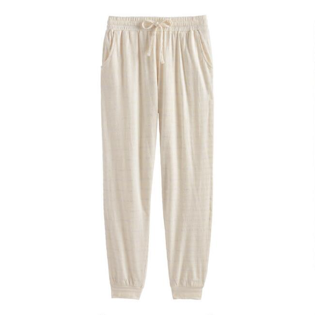 Ivory Textured Stripe Lounge Pants With Pockets