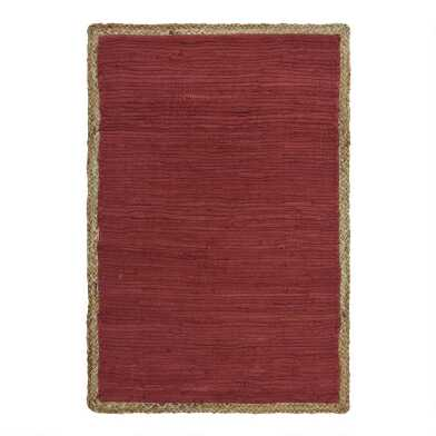 Jute Border Cotton Chindi Area Rug
