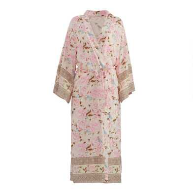 Pink, Brown and Blue Peony Robe