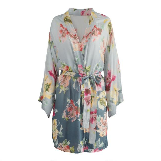 Dusty Teal Ombre Floral Robe