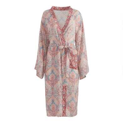 Pink and Blue Surf Damask Robe